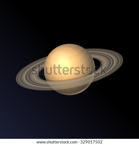 Saturn Planet Icon Isolated on Dark Background. Vector - stock vector