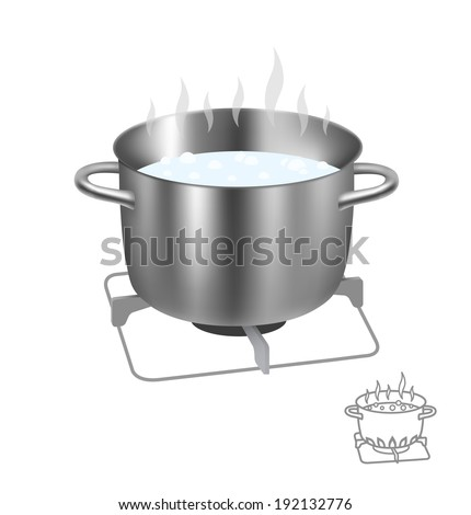 Saucepan on the burner isolated on white background. Vector illustration. - stock vector