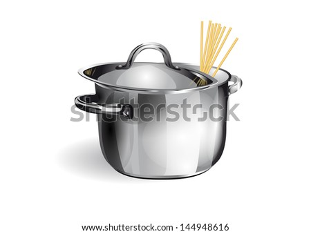 saucepan with spaghetti isolated on white background