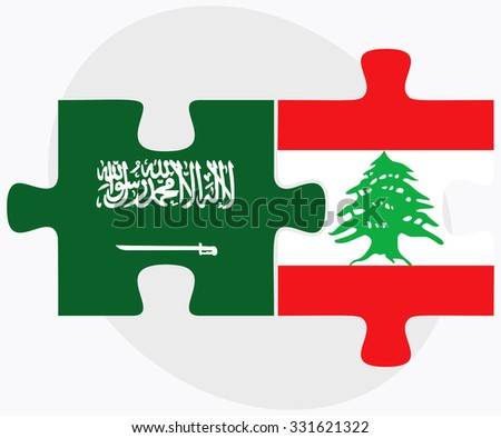 Saudi Arabia and Lebanon Flags in puzzle isolated on white background - stock vector