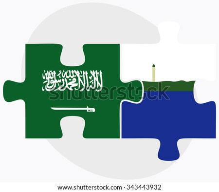 Saudi Arabia and Navassa Island Flags in puzzle isolated on white background