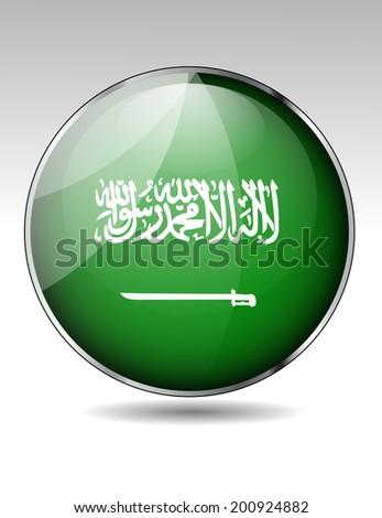 Saudi Arabia flag button - stock vector