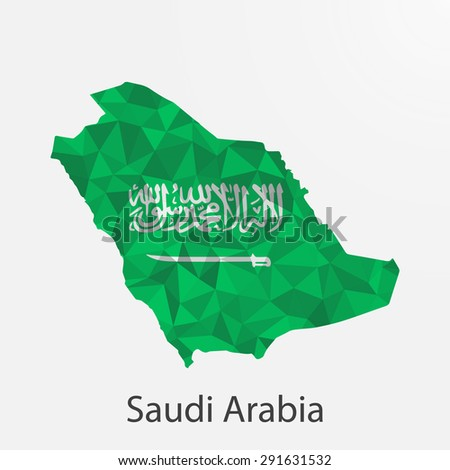 Saudi Arabia flag map in geometric,mosaic polygonal style.Abstract tessellation,background. Vector illustration EPS10