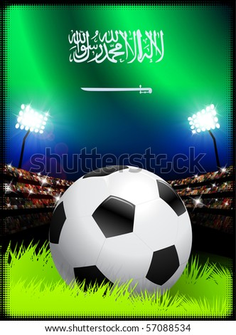 Saudi Arabia Flag with Soccer Ball on Stadium Background Original Illustration - stock vector