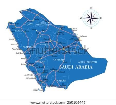Saudi Arabia map - stock vector