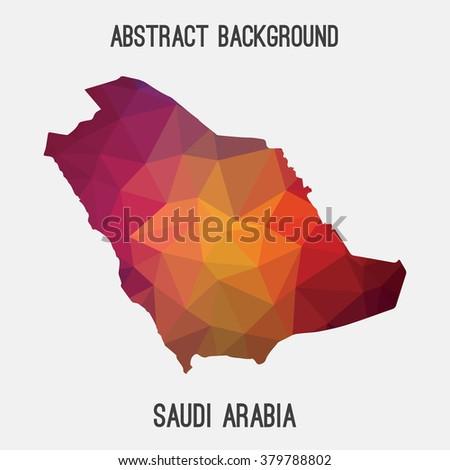 Saudi Arabia map in geometric polygonal style.Abstract tessellation,modern design background. Vector illustration EPS8 - stock vector