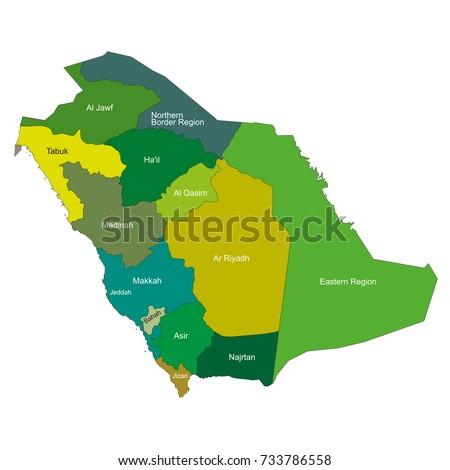 Saudi arabia map cities name english stock vector 733786558 saudi arabia map with cities name in english gumiabroncs Images