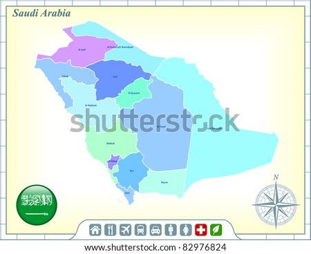 Saudi Arabia Map with Flag Buttons and Assistance & Activates Icons Original Illustration - stock vector