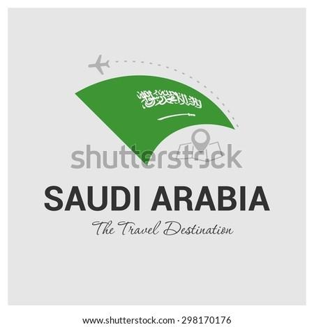 Saudi Arabia The Travel Destination logo - Vector travel company logo design - Country Flag Travel and Tourism concept t shirt graphics - vector illustration - stock vector