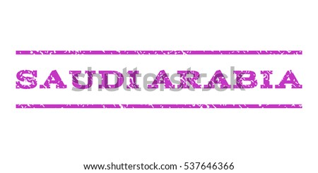 Saudi Arabia watermark stamp. Text caption between horizontal parallel lines with grunge design style. Rubber seal stamp with unclean texture. Vector violet color ink imprint on a white background.