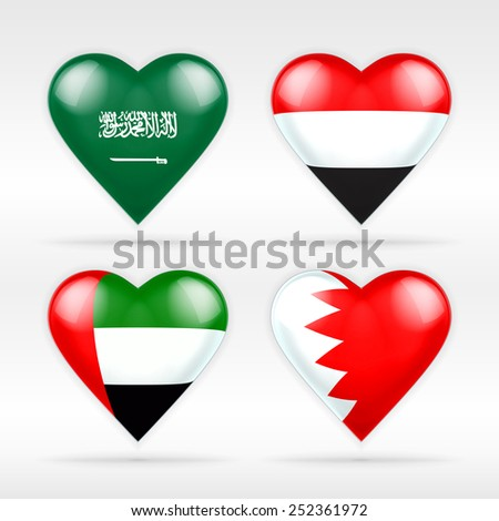 Saudi Arabia, Yemen, United Arab Emirates and Bahrain heart flag set as collection of isolated vector state flags icon elements on white - stock vector