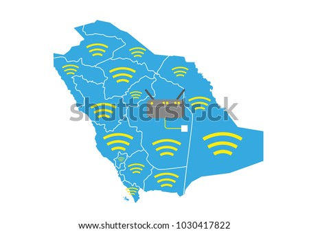 Saudi Map Wireless Signal Router Connected Stock Vector - Wireless signal map