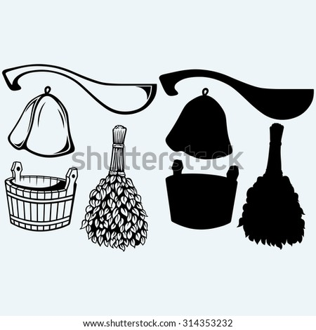 Sauna ready accessories - broom, bucket, hat and scoop. Isolated on blue background  - stock vector