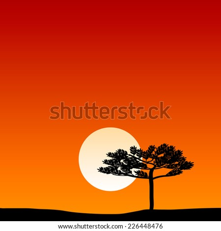 Savanna landscape at sunset. Vector illustration. - stock vector