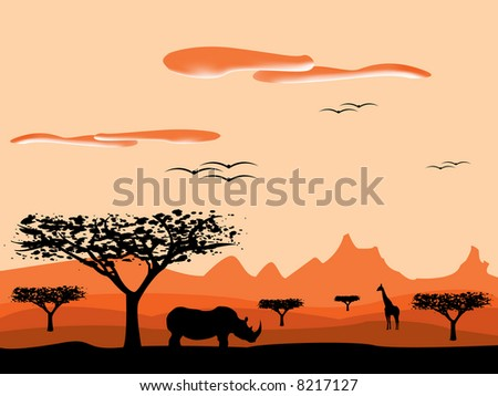 savanna sunset in africa - stock vector