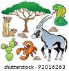 Savannah animals collection 1 - vector illustration. - stock vector
