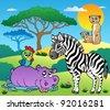 Savannah scenery with animals 4 - vector illustration. - stock vector