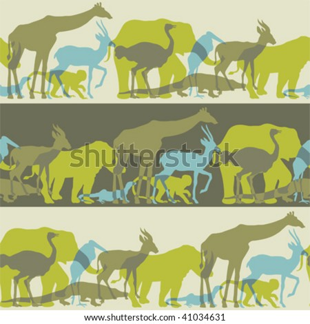 save  animal liberation -seamless  pattern brush and swath  included - stock vector