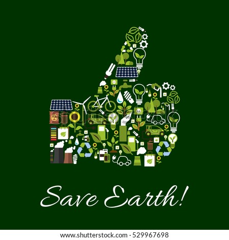 Save Earth Ecology Poster Environment Protection Stock Vector 529967698