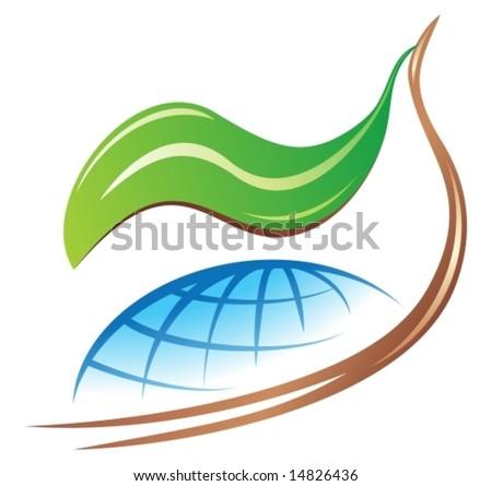 Save earth logo - stock vector