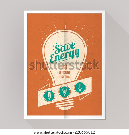 Save energy cfl lamps poster with bulbs icons set. - stock vector
