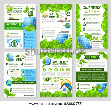 Save Energy Poster Template Set Solar Stock Vector