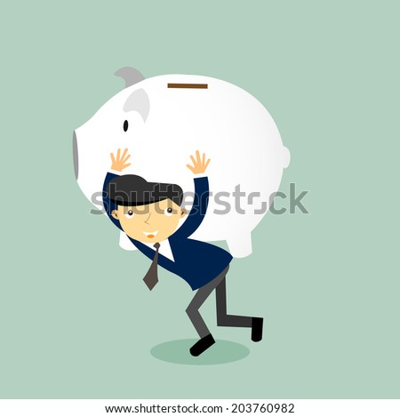 Save money concept - Businessman carrying big piggy bank on his shoulders  - stock vector