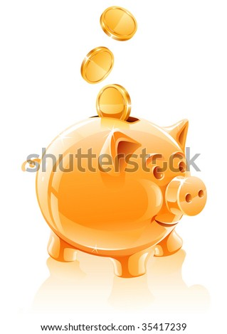 save money concept with piggy bank - vector illustration - stock vector