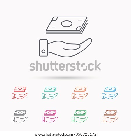 Save money icon. Hand with cash sign. Investment or savings symbol. Linear icons on white background. - stock vector
