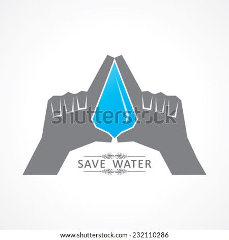 Save nature concept with water drop stock vector - stock vector