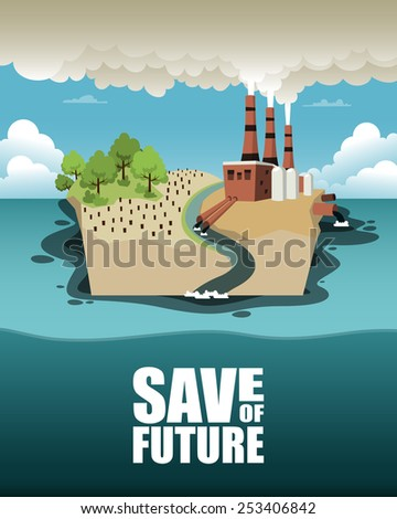 Save of future. Vector illustration on ecology theme - stock vector