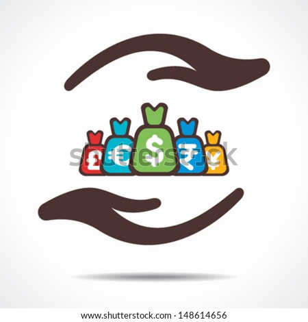 save or secure money concept icon vector - stock vector