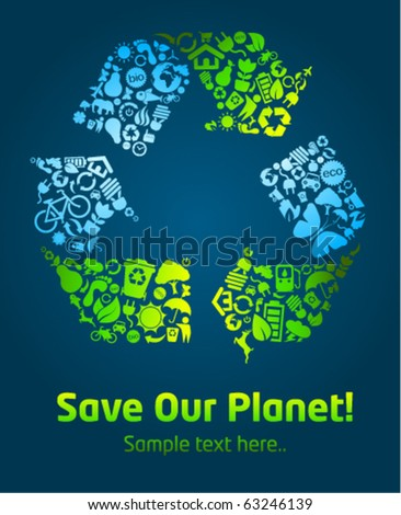 Save our planet eco icon poster template - stock vector