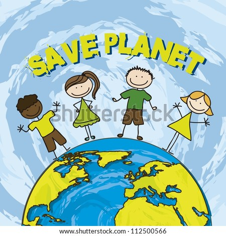 save planet with children over blue background. vector illustration - stock vector