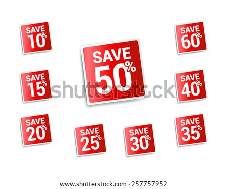 Save % Stickers - stock vector