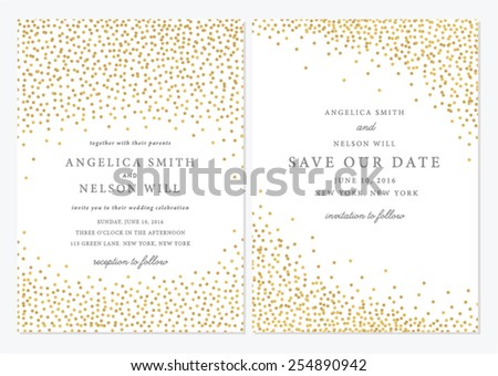 Save the Date and Wedding Card Illustration - stock vector