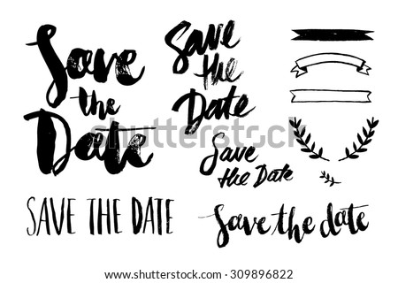 save the date brush script - stock vector