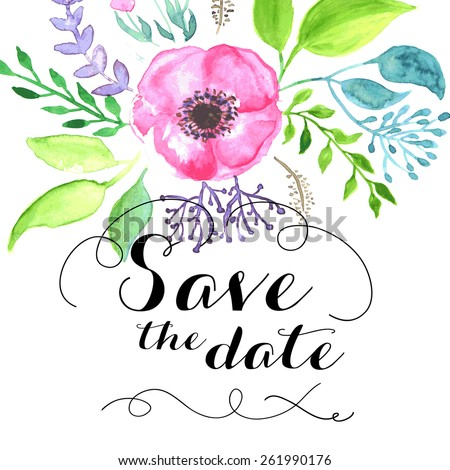Save The Date Calligraphy Text With Watercolor Flowers - stock vector