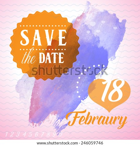 Save the Date card - February 18 - stock vector
