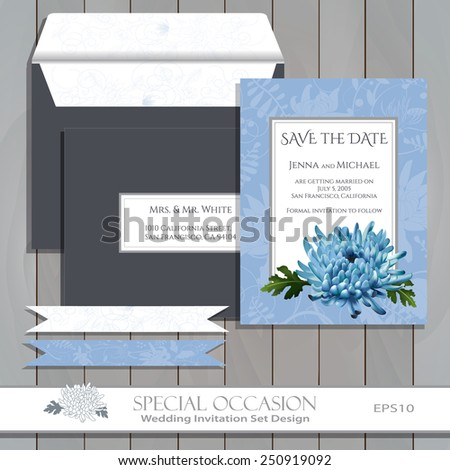 Save the Date card set. Wedding invitation card set design template. Vector floral invitation card with blue Chrysanthemum flower. Greeting card for Special Occasions & Life events on wood. Editable. - stock vector