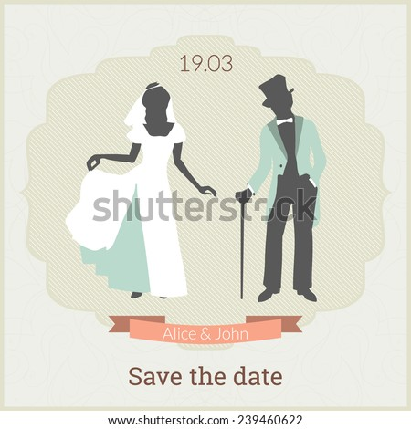Save the date card template with bride and groom in retro style and laconic gentle colors