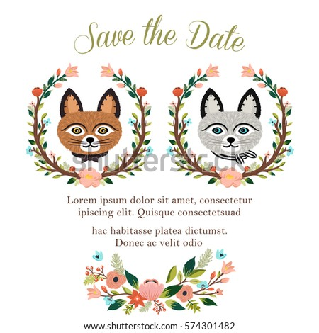 Cat wedding stock images royalty free images vectors shutterstock wedding invitation design with cute cats flowers leaves junglespirit Choice Image