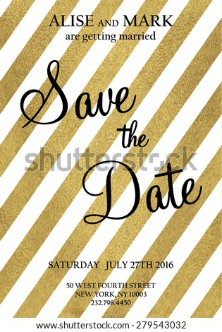 Save the date card. Wedding invitation with gold glitter texture  - stock vector
