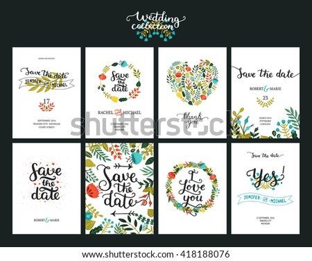Save the date cards, wedding invitation with hand drawn lettering, flowers and branches.  - stock vector