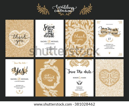 Save the date cards, wedding invitation with hand drawn lettering, heart and branches. Gold and black background - stock vector