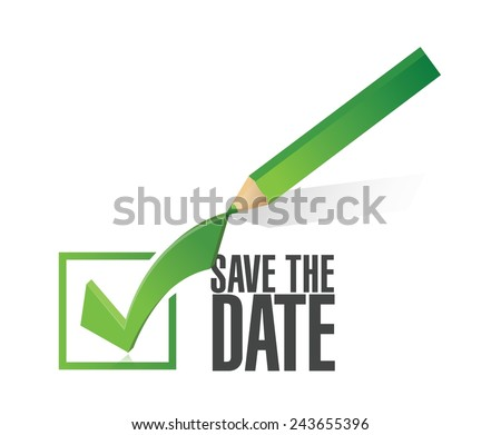 save the date check mark pencil illustration design over a white background - stock vector