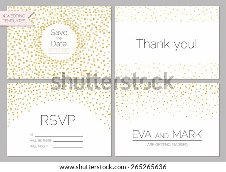 Save the date collection. Wedding invitation set with gold confetti - stock vector
