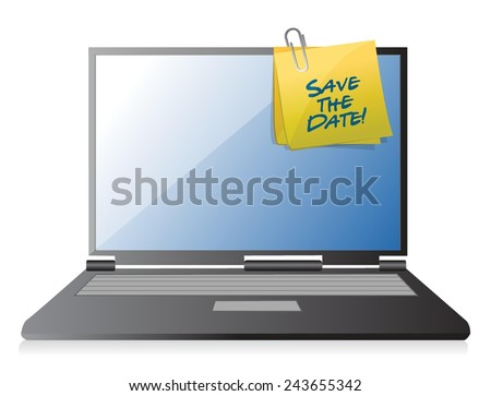 save the date computer memo post. illustration design over a white background - stock vector