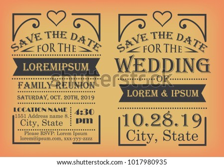 Save Date Design Templates Family Reunions Stock Vector 2018