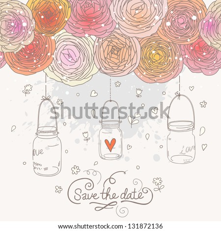 Save the date. Floral wedding invitation in vector. Stylish romantic background in pastel colors for romantic designs - stock vector